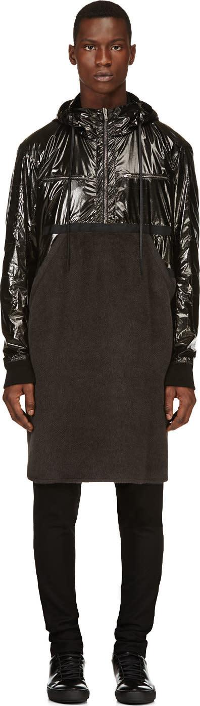 Image of Damir Doma Black Fleece and Nylon Runway Coat