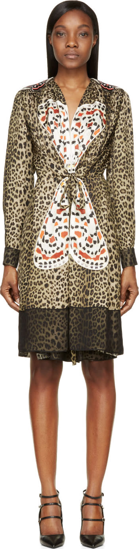 Givenchy Robe Imprimée Léopard à Broderies Papillon