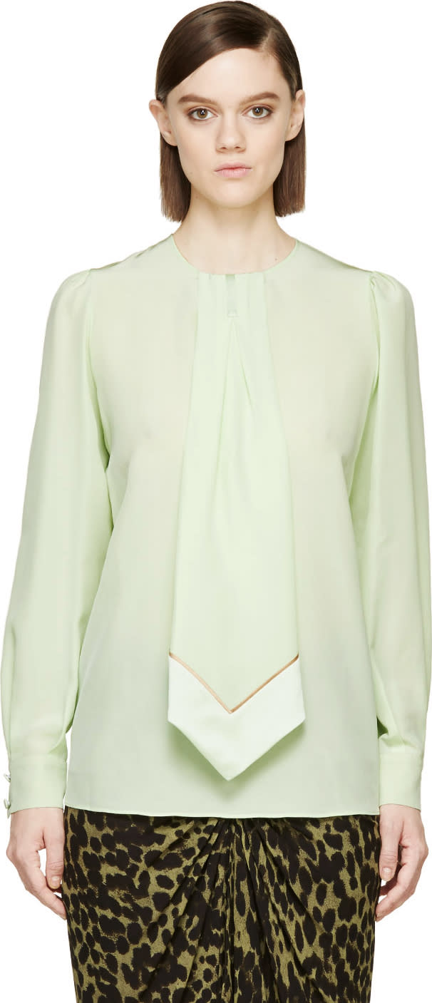 Givenchy Pear Green Silk Pleated Tie Blouse
