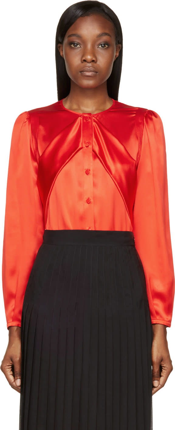 Givenchy Red Silk Sash Blouse