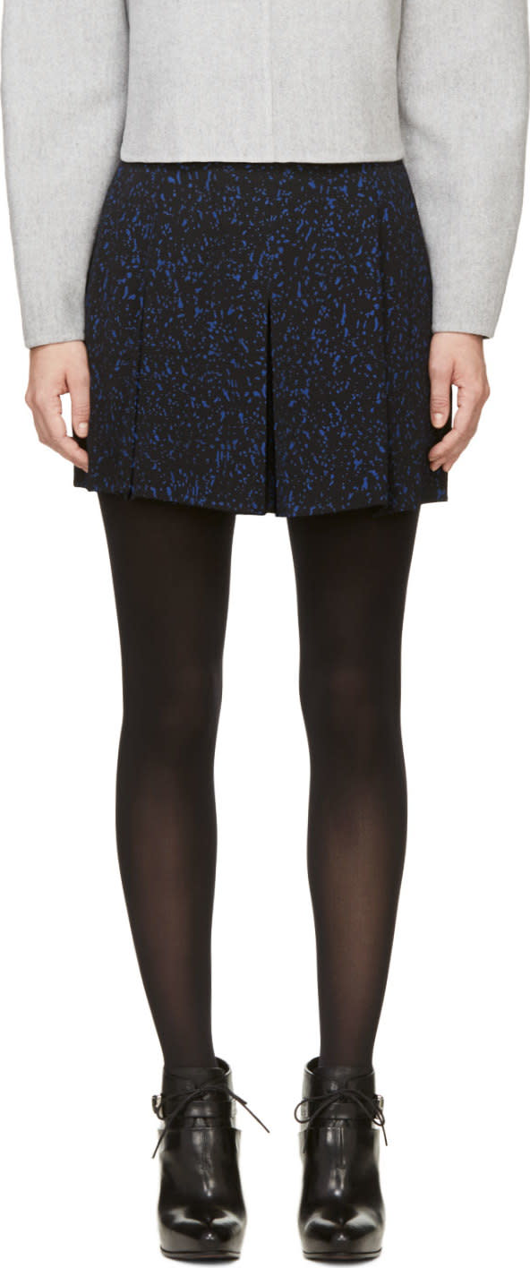 Image of Proenza Schouler Black and Blue Splatter Print Hybrid Shorts