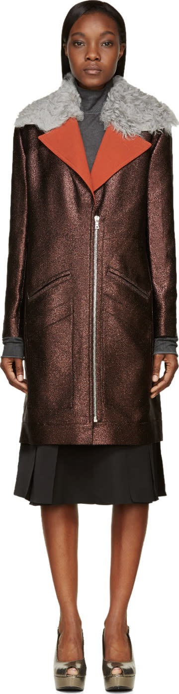 Image of Rodarte Brown Shearling Collar Metallic Coat