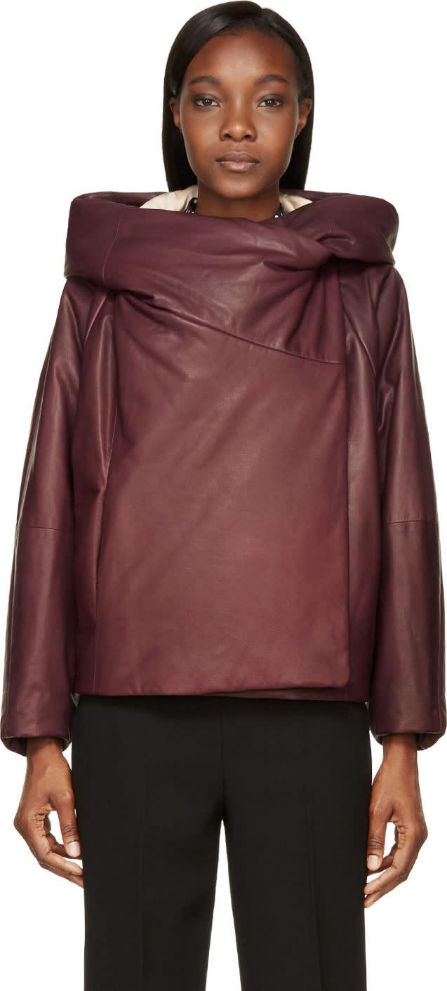 Chloe Plum Insulated Hooded Calfskin Jacket