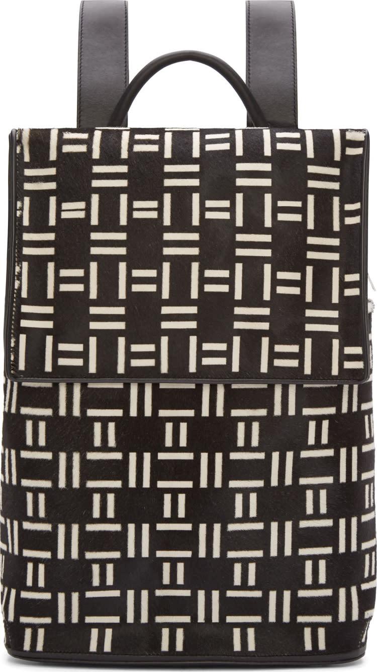 Balenciaga Black and White Calf-hair Crosshatch Backpack