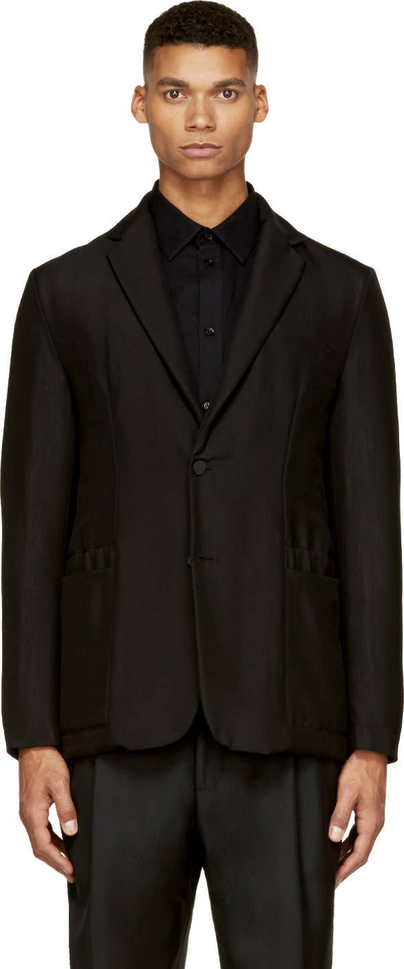 Balenciaga Black Wool Mélange Insulated Blazer