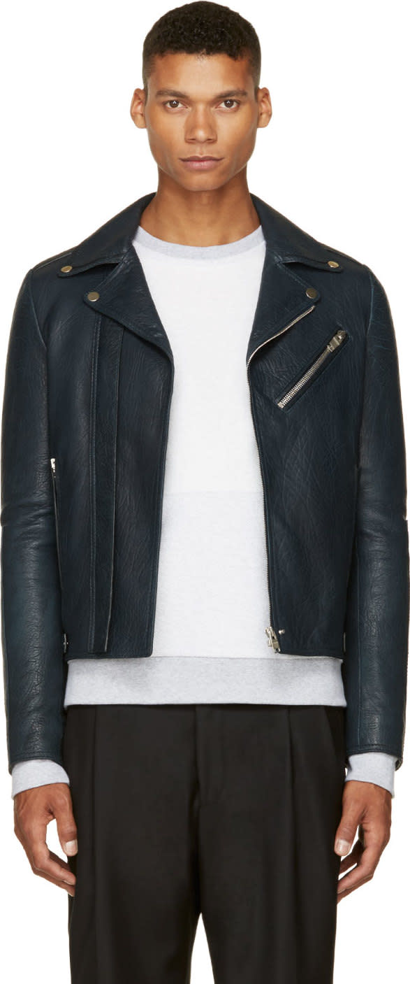 Balenciaga Blue Grained Leather Biker Jacket