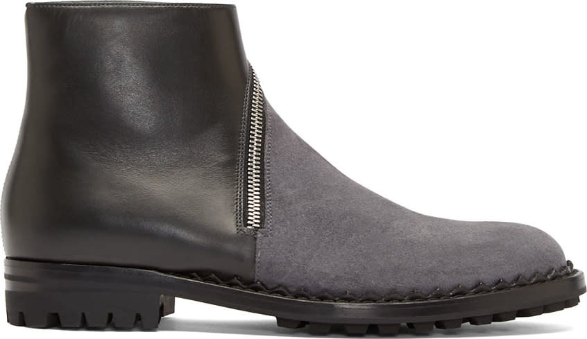 Balenciaga Black Leather and Grey Suede Slant Zip Boots