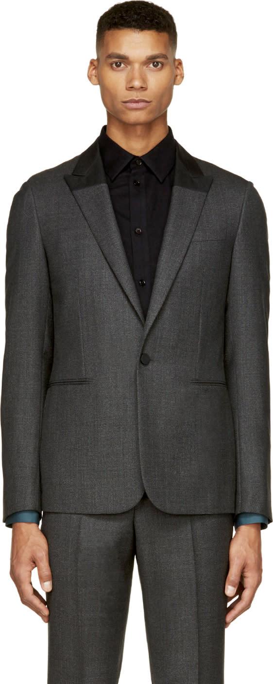 Balenciaga Dark Grey Colorblock Collar Tuxedo Jacket