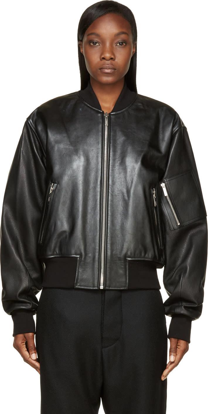 Juun.j Black Leather Sign Society Bomber Jacket