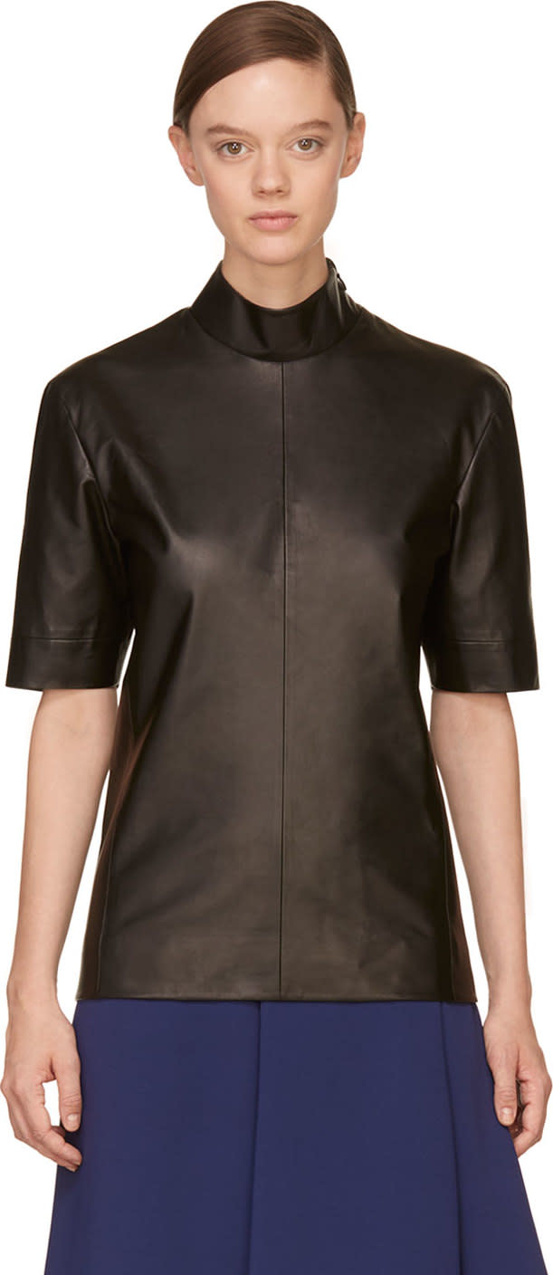Juun.j Black Leather Turtleneck