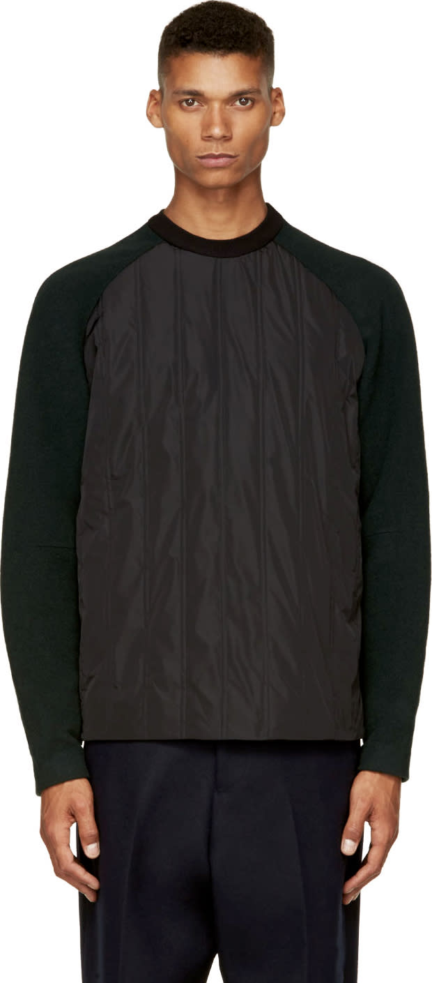 Image of Juun.j Black and Forest Green Insulated Pullover