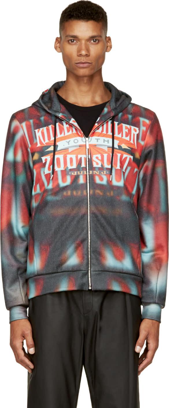 Juun.j Red and Orange  Killer Diller Zip-up Hoodie