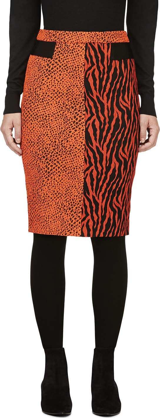 Avelon Red-orange Animal Print Jacquard Skirt