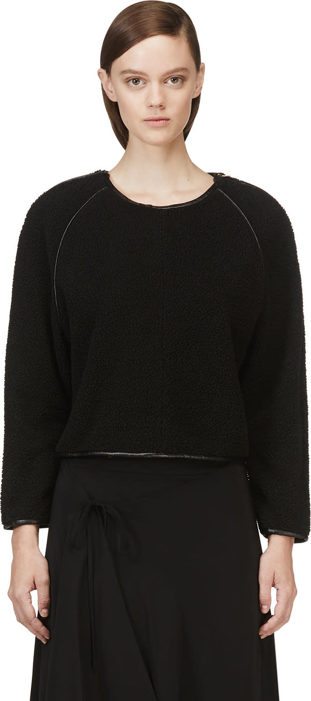 Avelon Black Leather Trim Fleece-textured Sweater