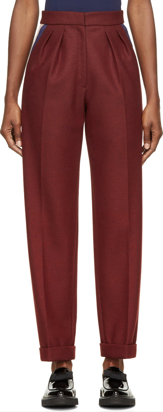 Roksanda Burgundy Wool Marre Trousers