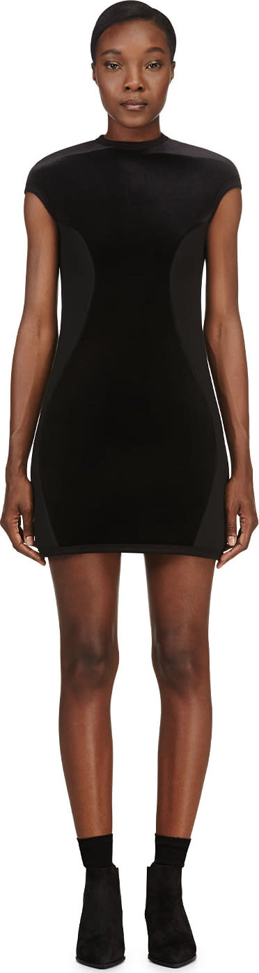 Denis Gagnon Ssense Exclusive Black Velvet and Neoprene Dress