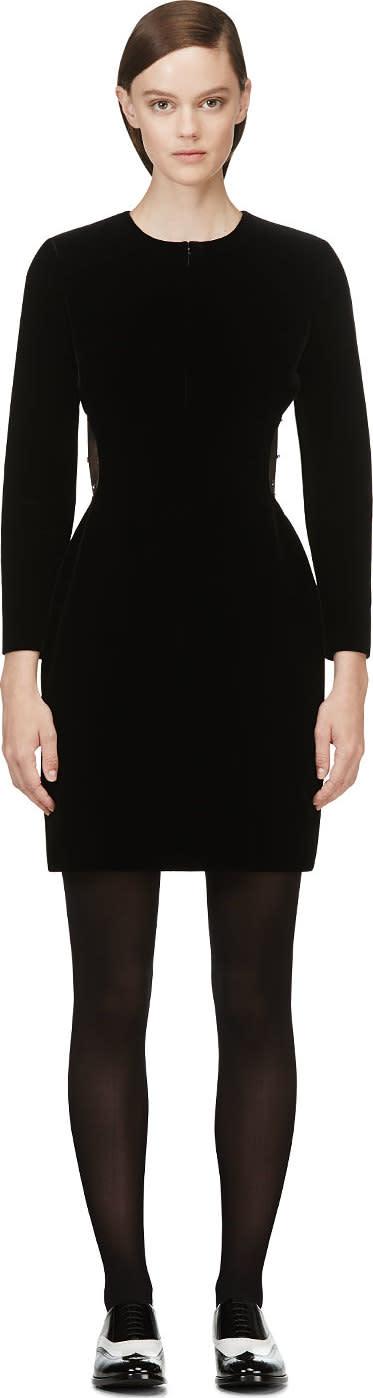 Saint Laurent Black Velour Beaded Mesh Cutout Dress