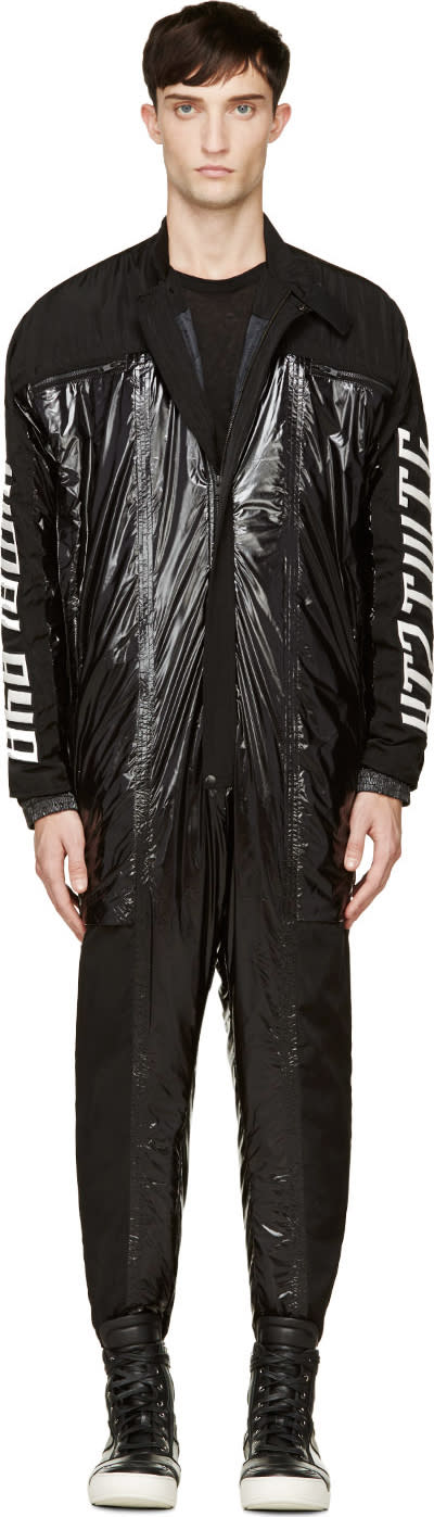 Ktz Black Padded Nylon and Leather Boiler Suit