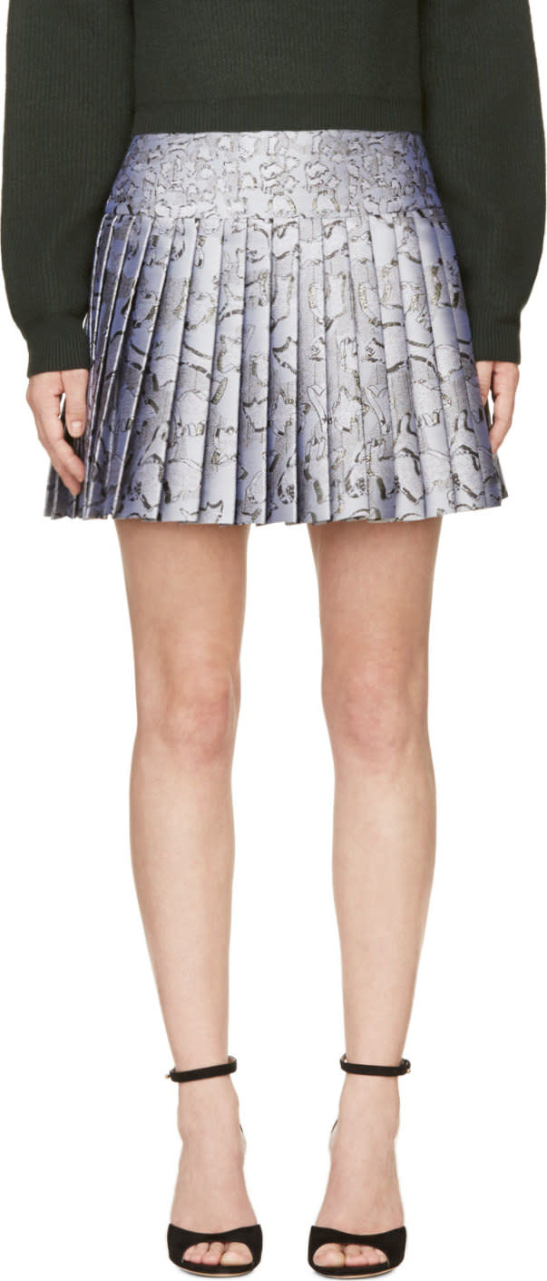 Mary Katrantzou Silver Jacquard Cookie Print Pleated Skirt