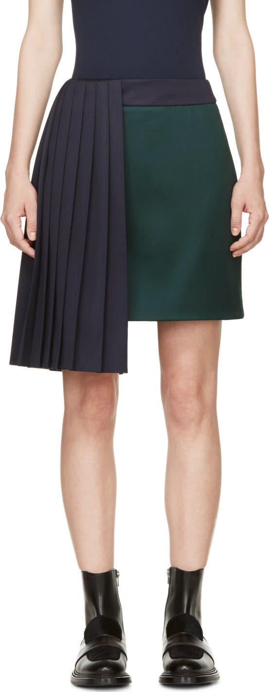 Mary Katrantzou Evergreen and Navy Pleat Jumbar Skirt