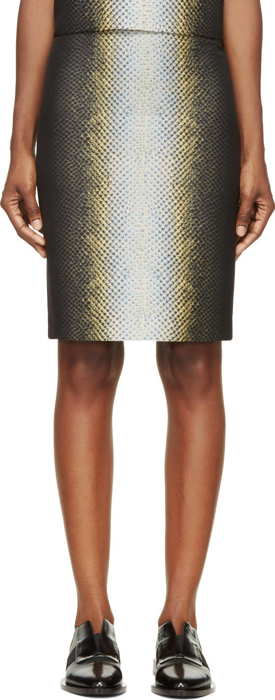 Image of Cédric Charlier Black and Yellow Snake Print Skirt