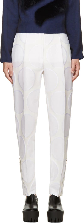 Stella Mccartney Cream Dot-patterned Zip Trousers