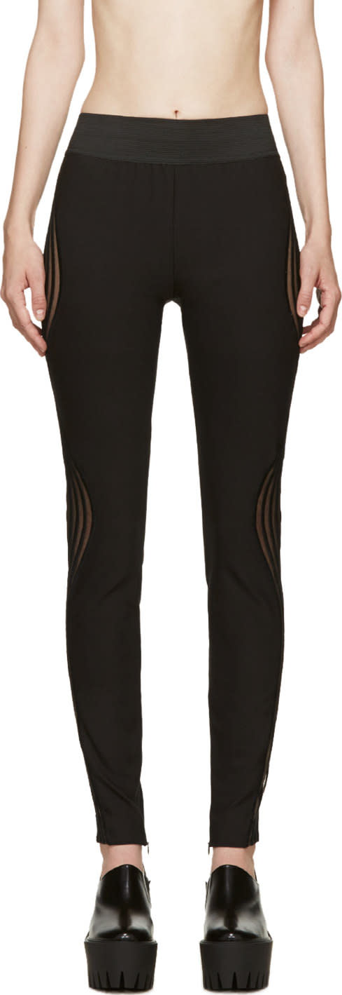Stella Mccartney Black Ribbed Wave Leggings
