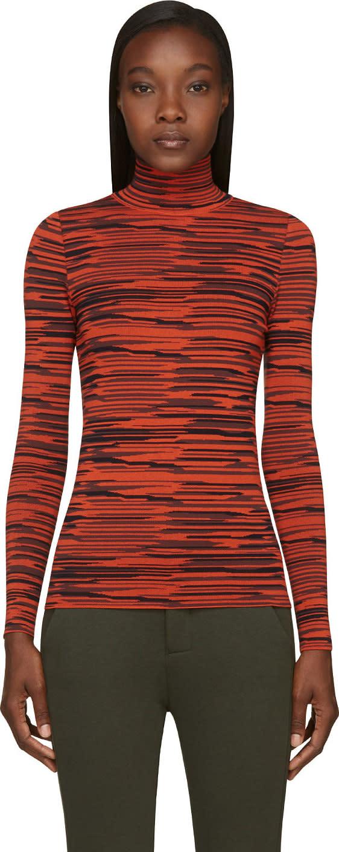 Stella Mccartney Black and Orange Irregular Stripe Turtleneck