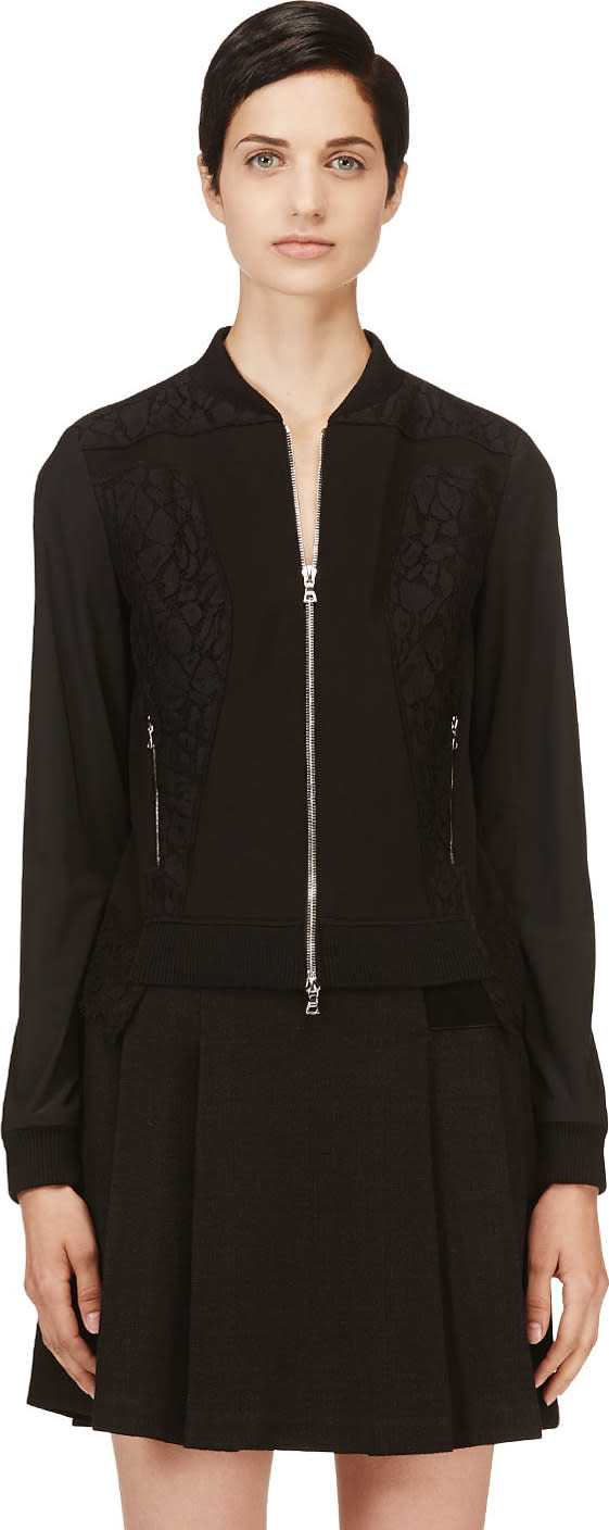 Nina Ricci Black Lace Panelled Bomber Jacket
