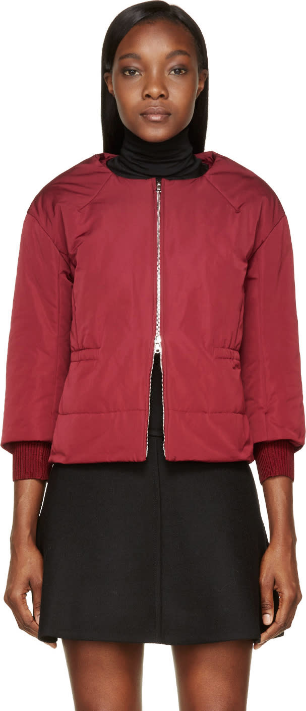 Nina Ricci Burgundy Insulated Cropped Sleeve Jacket