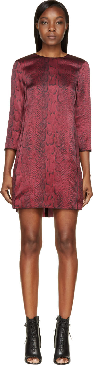 Nina Ricci Burgundy Silk Python Print Short Dress