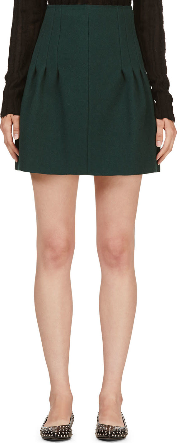 Nina Ricci Green Silk-bonded Wool Skirt
