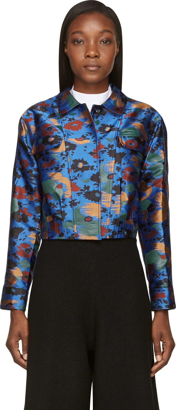 J.w. Anderson Blue Floral Splatter Cropped Bomber Jacket