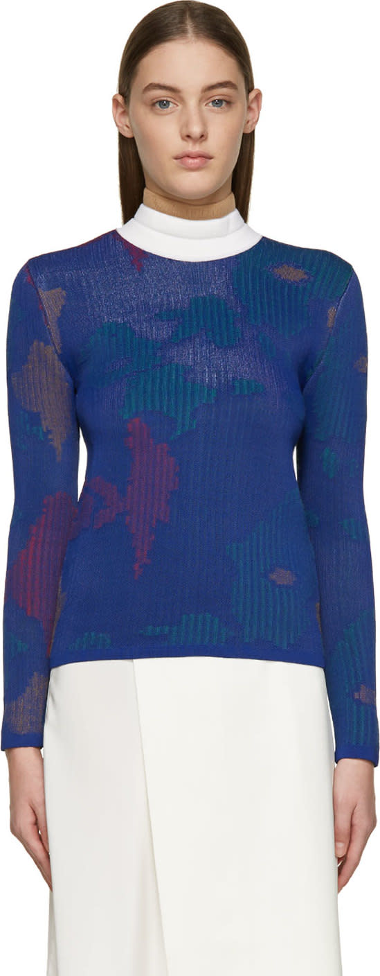 Jw Anderson Indigo and Red Jacquard Floral Sweater
