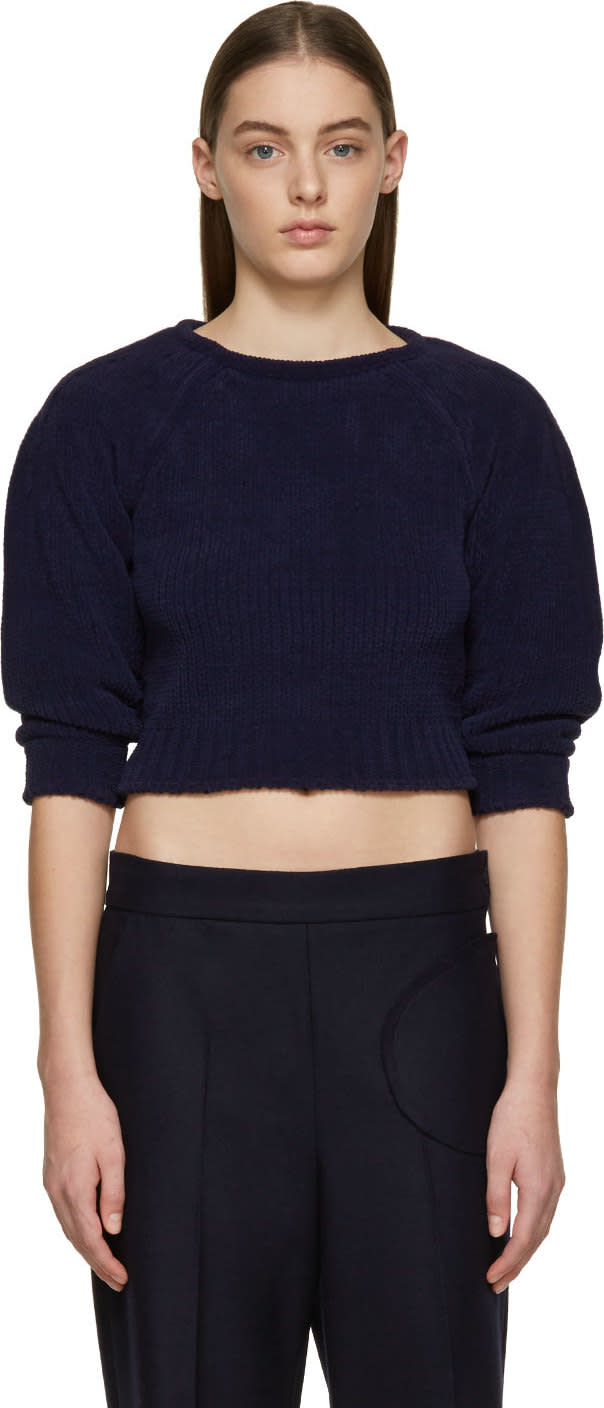 J.w. Anderson Navy Chenille Sweater