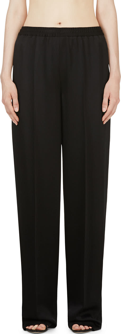 Calvin Klein Collection Black Hammered Satin Welma Trousers
