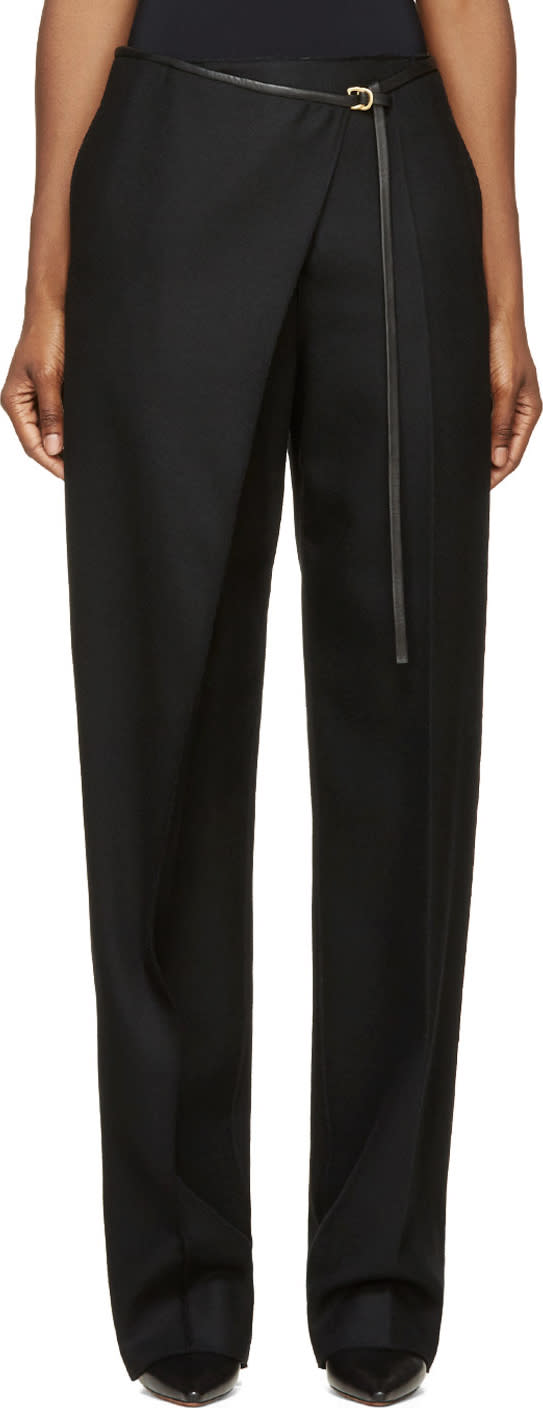 Calvin Klein Collection Black Wool and Leather Angled Aggy Trous
