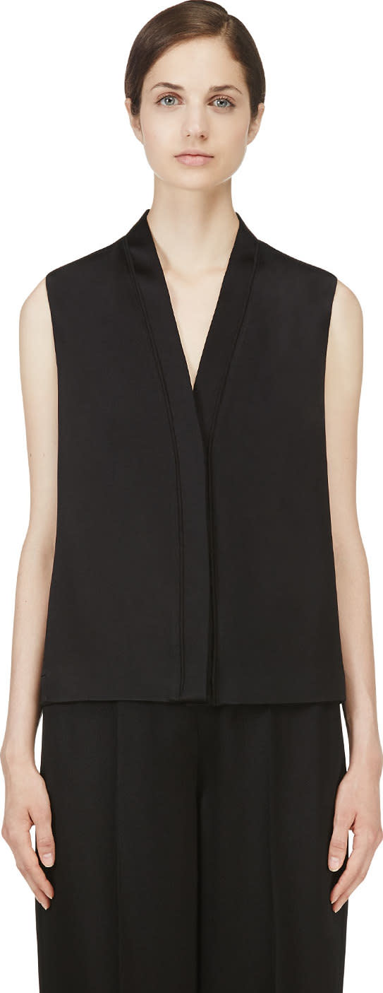 Calvin Klein Collection Black Hammered Satin Wayne Blouse