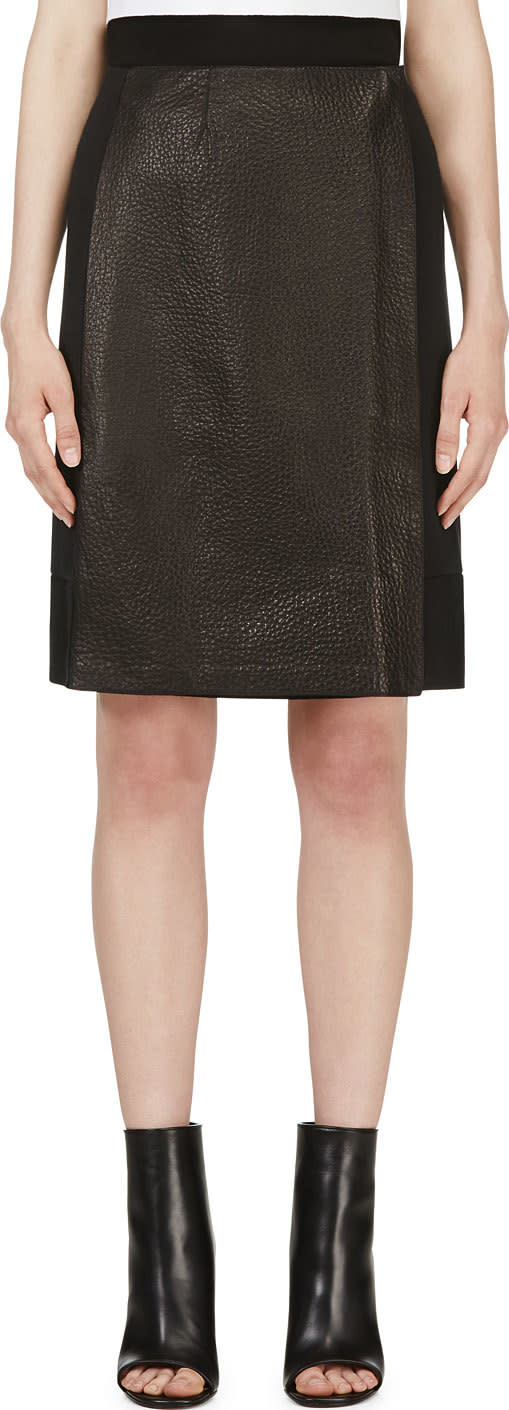 Calvin Klein Collection Black Leather Panel Nousha Wrap Skirt