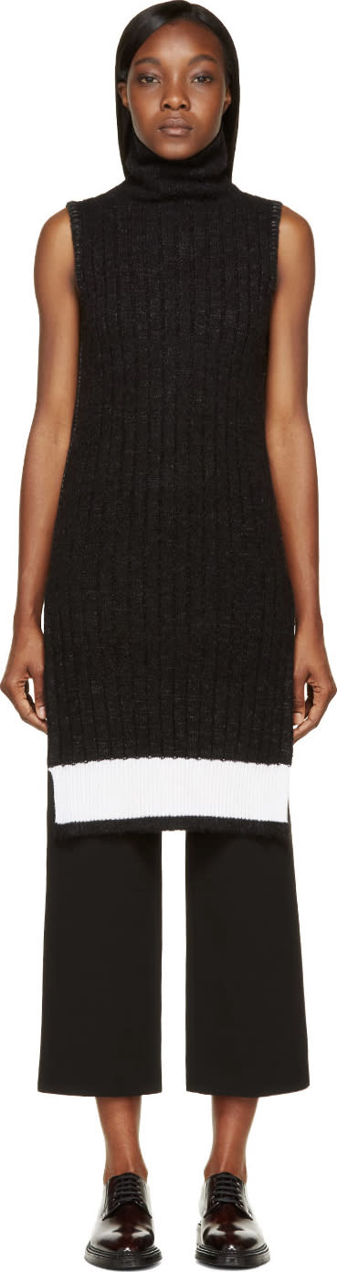 Image of Calvin Klein Collection Black and White Ribbed Knit Arto Turtleneck