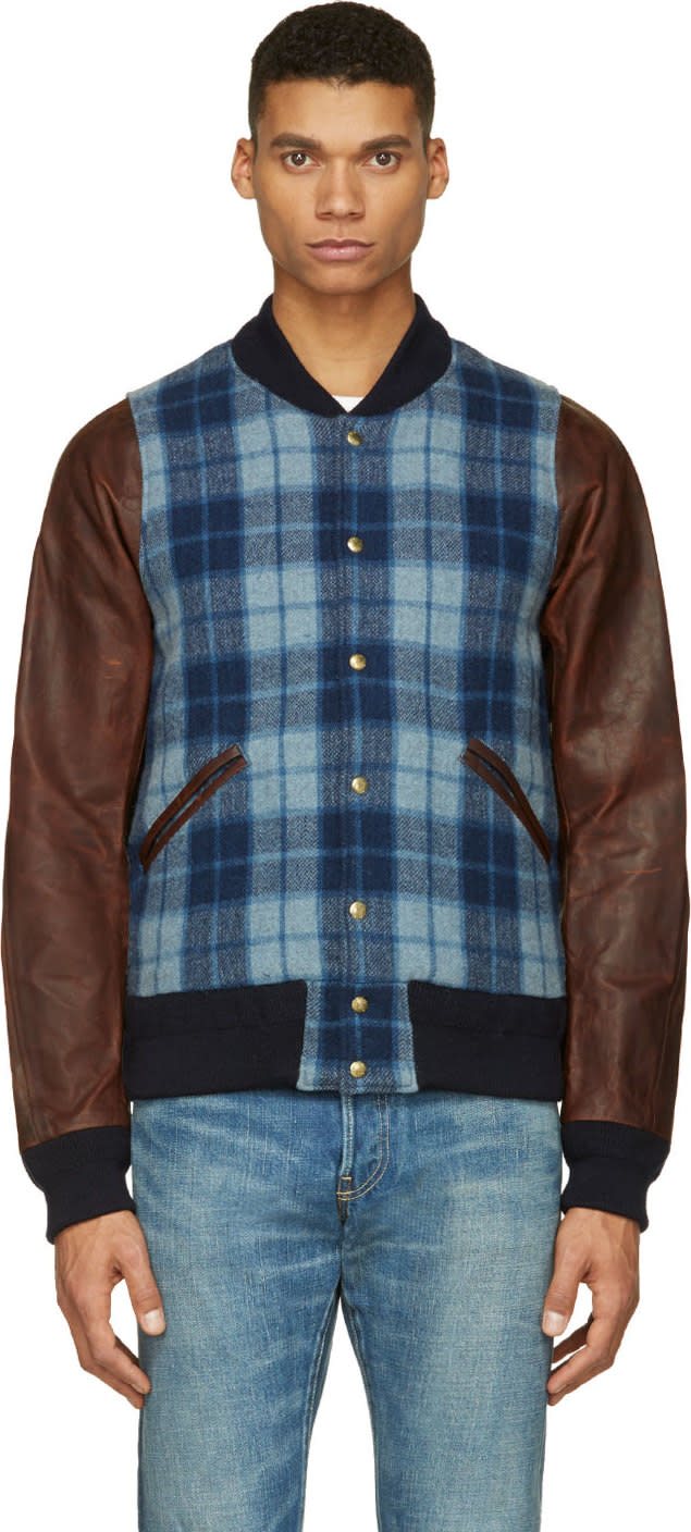 Visvim Blue Plaid and Leather Brainstorm Bomber