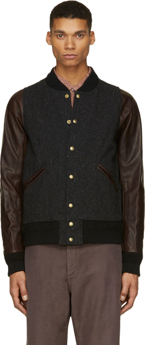 Visvim Black Tweed and Leather Barnstorm Bomber