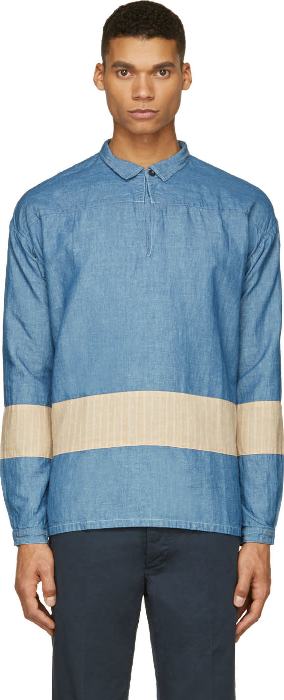 Visvim Blue Kerchief Panel Tunic Shirt
