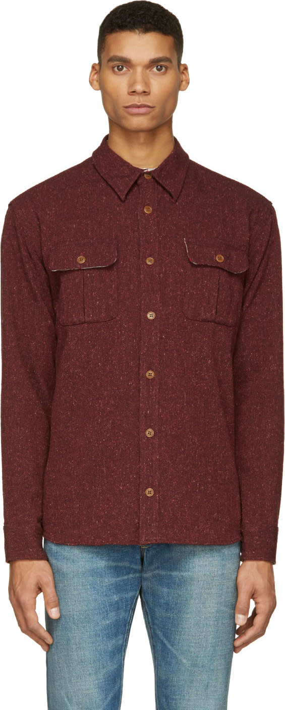 Visvim Burgundy Tweed Sherwood Shirt