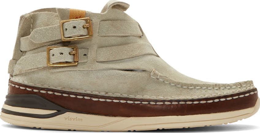 Visvim Grey Suede Mesa Moc-folk Boat Shoes