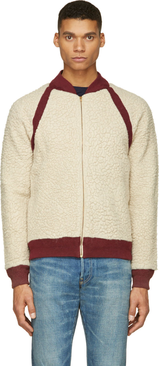 Visvim Ivory and Burgundy Alces Fleece Bomber Jacket