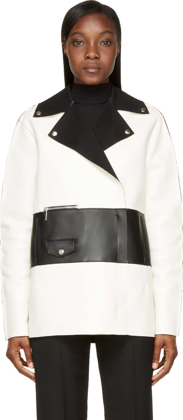 Costume National White and Black Colorblock Leather Biker Jacket