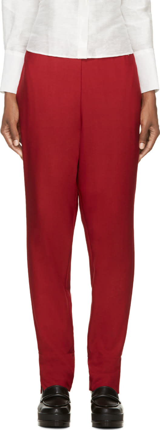 Costume National Red Wool Trousers
