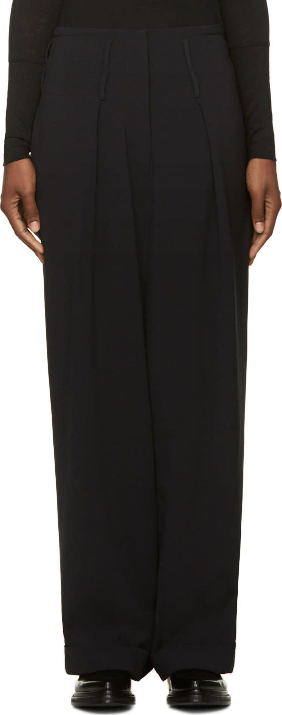 Image of Costume National Black Wide Leg Trousers