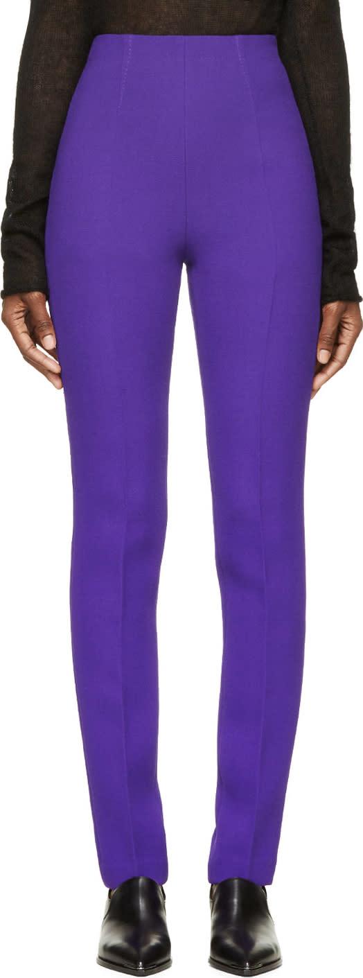 Costume National Purple High-waisted Wool Trousers